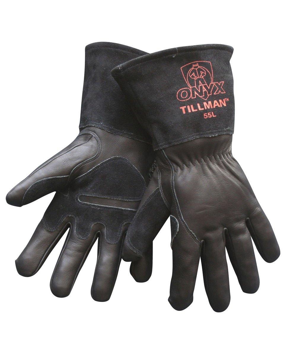 Tillman leather work gloves - Tillman 55 Onyx Black Top Grain Split Cowhide Mig Welding Gloves Medium Welding Safety Gloves Amazon Com