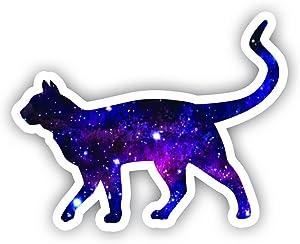 """Cat Walking Galaxy Sticker - Laptop Stickers - 2.5"""" Vinyl Decal - Laptop, Phone, Tablet Vinyl Decal Sticker"""