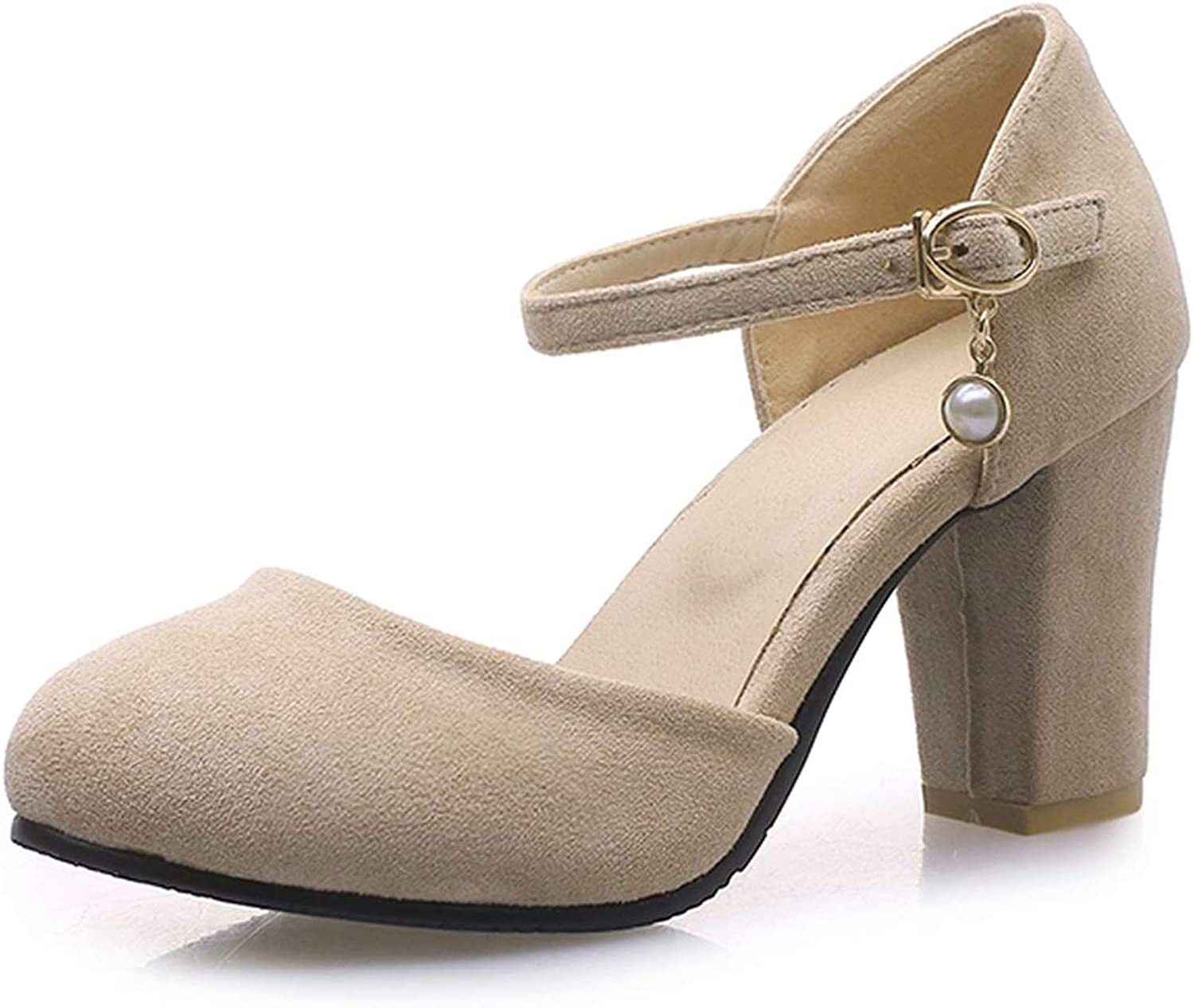 Chic High Heels Sandals Chunky Heels Older Comfortable Womens Classics Womens Shoes,Apricot,5