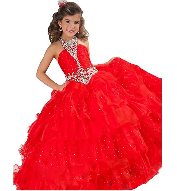 Amazon.com: Aiduo Big Girls Crystal Rhinestone Wedding Gown Pageant ...