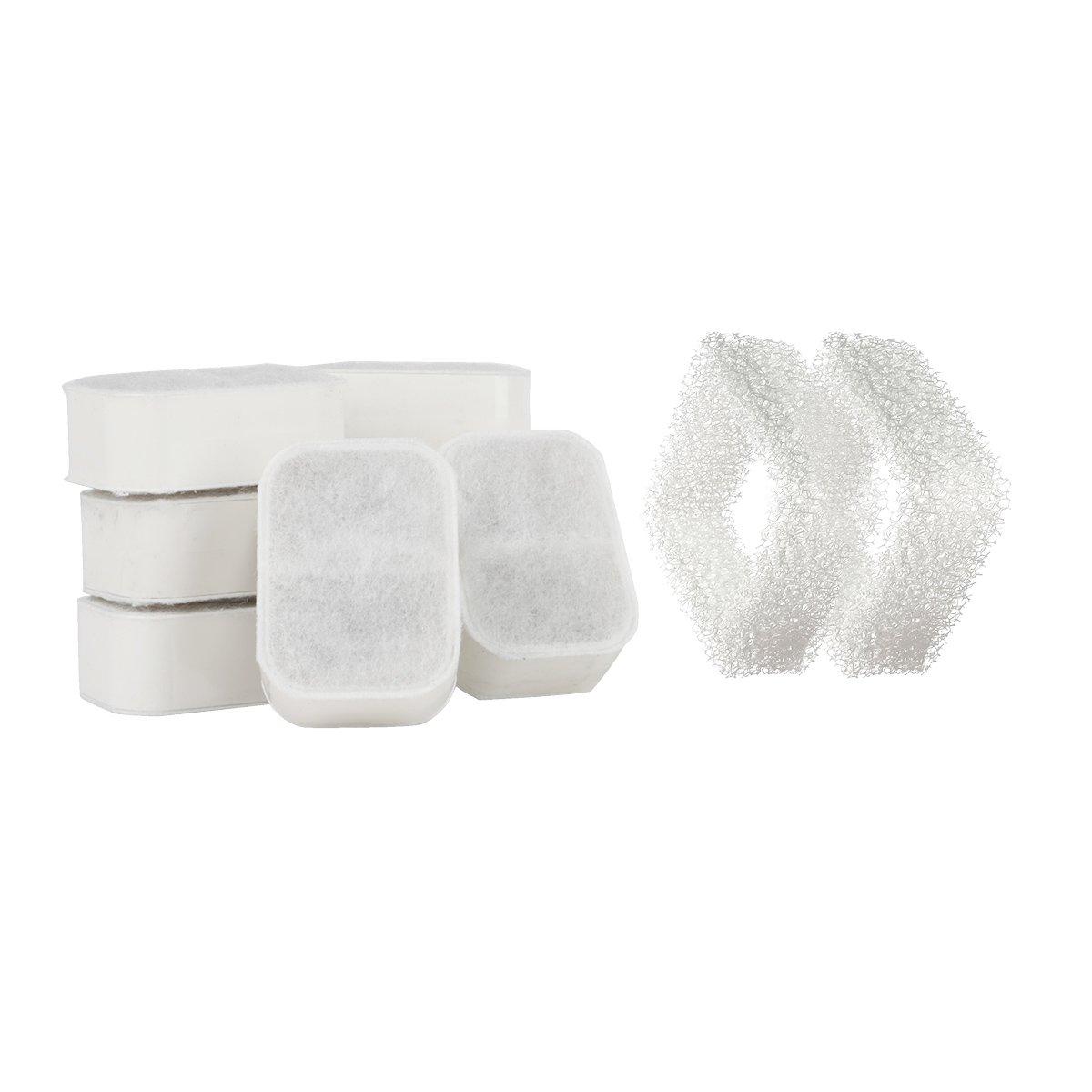 iPettie Lot de 8 filtres à Charbon Actif + 2 filtres en Mousse pour Fontaine à Eau en Céramique pour Chat/Chien