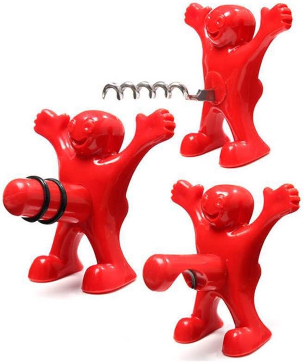 3 Piezas Hombre Rojo Abridor Botella de Vino Tapón de la Botella de Vino Botella de Cerveza Opener Set de Regalo (Rojo)