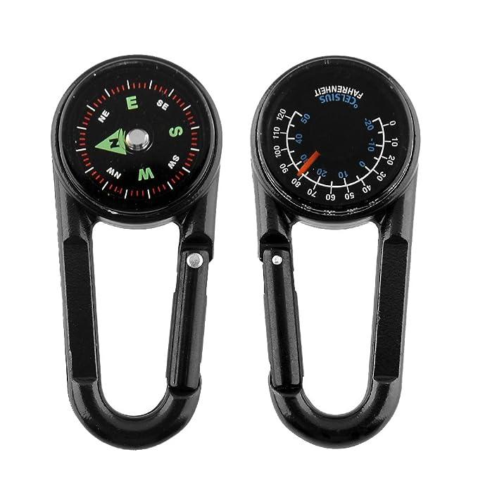PSFY Multifuncional 3 en 1 Senderismo Mini brújula termómetro mosquetón G Llavero de Metal Llavero Anillo