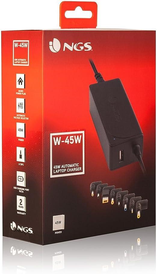 NGS W-60W Type-C Interior 60W Negro Adaptador e inversor de Corriente Fuente de alimentaci/ón 100-240, 60 W, 3 A, 15V,20V,+12V,+5V, Interior, Port/átil