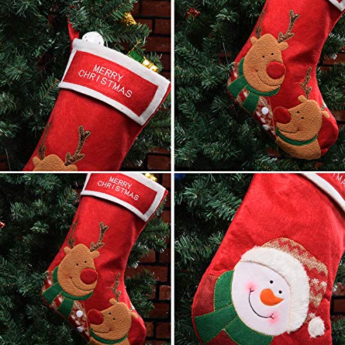 Christmas Stockings Kits.Vanteriam Red Christmas Stockings Set Of 3 Embroidered Christmas Stocking Kits For Party Decorations