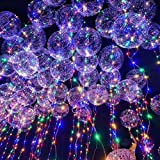 6 Pack LED Bobo Balloons, Premium Flashing Party Decorative Balloons, 18-Inch Fillable Transparent Balloons with Helium, Air, Ideal for Christmas Birthday Party Proposal Wedding Home Decorations