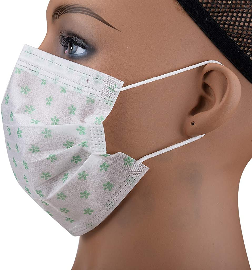 30/50/100pc Dispo Devices for Daily Dust Protection, Thin Elastic Ear Loops, Disposable Safety Pads Covering Half Face Green