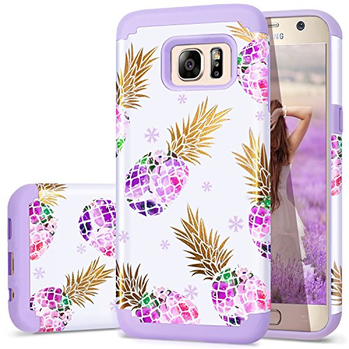 Galaxy S7 Case,Purple S7 Cases,Fingic Purple Pineapple Design Slim Hybrid Case Hard PC&Soft Rubber Anti-Scratch Protective Case for Ladies Girls Cover for Samsung Galaxy S7(G930)ONLY,Pineapple/Purple