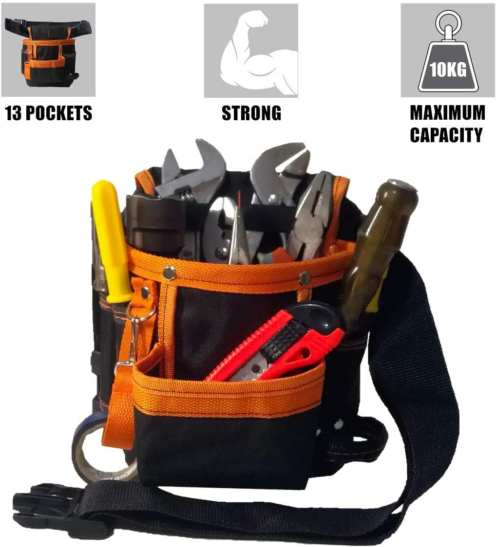 Copechilla Tool Pouches Electrician and Belts Electrician 25X15 X5CM,Black,15 Pockets,Material Waterproof Double Layer Thickening 600D Oxford,for Technical Maintenance