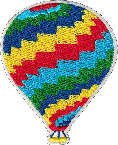 Rainbow Hot Air Balloon - Cut Out Embroidered Iron On or Sew On Patch ()