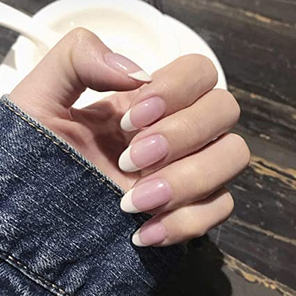 Handcess French False Nails Pink And White Oval Acrylic Press On Nail Fake Nails Full Cover For Women Amazon Co Uk Beauty