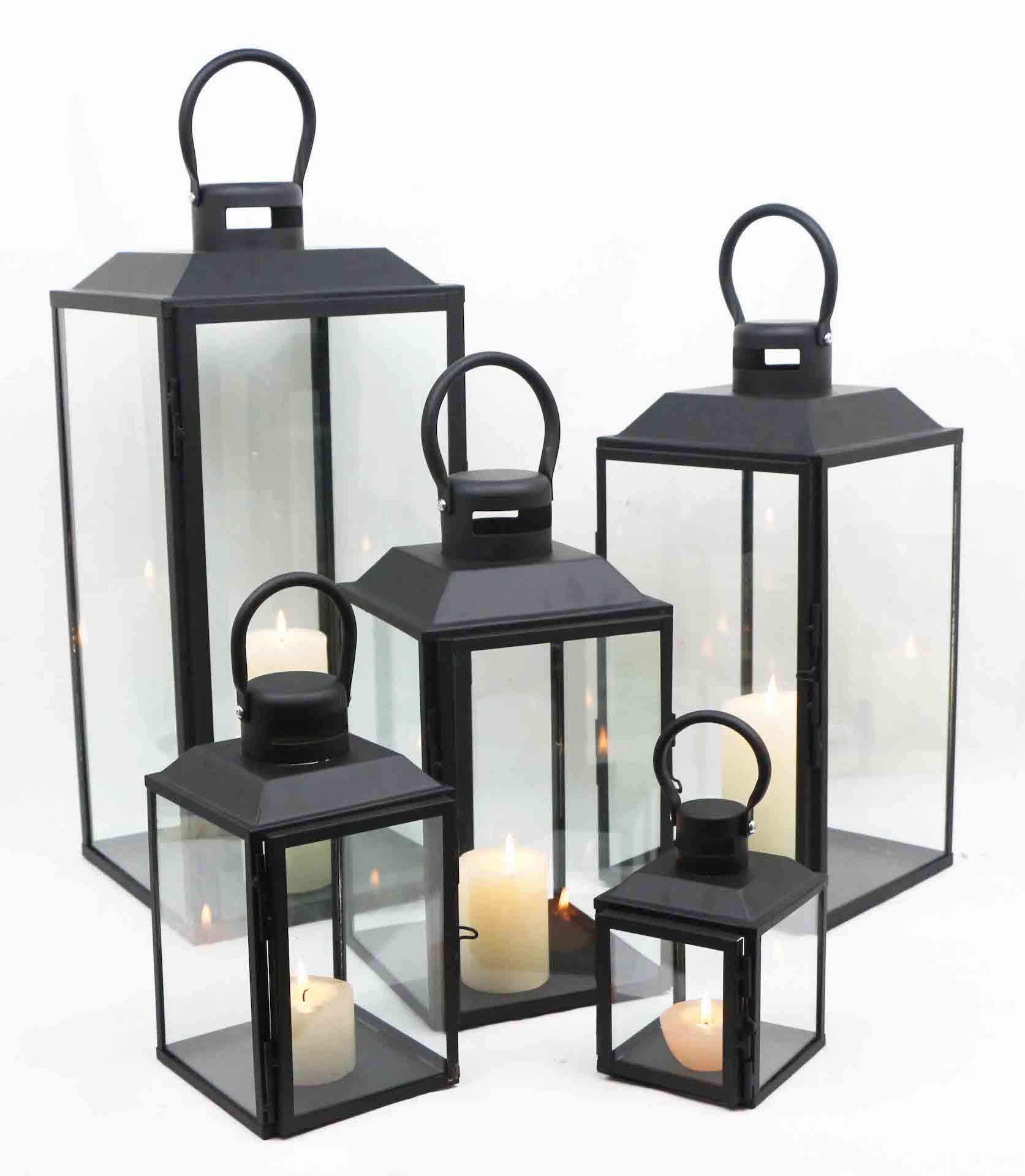 American Mantle Decorative Metal and Glass Candle Lanterns - Set of 5 Pieces