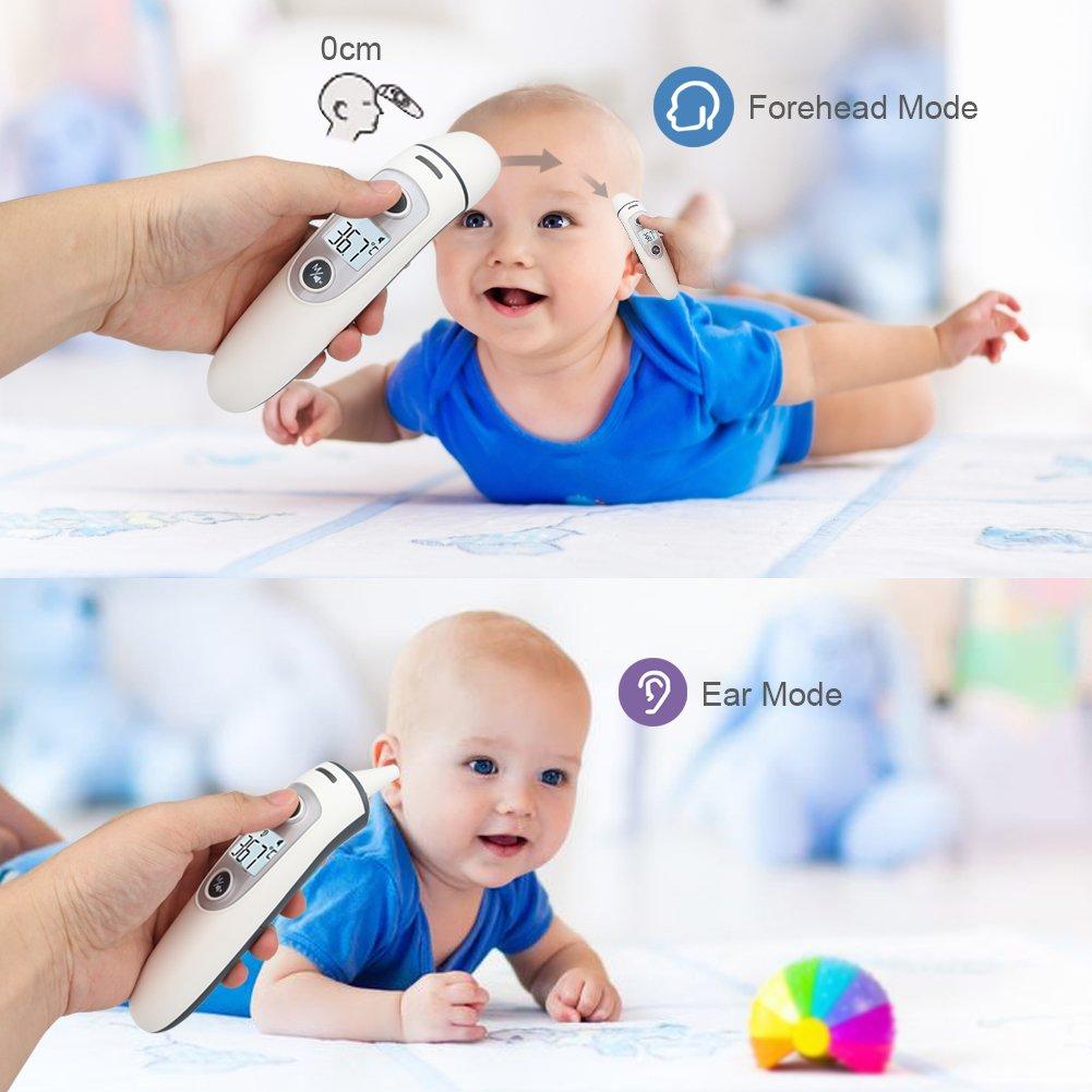 Termometro Digital Bebe, Telgoner Infrarrojo Médico Termómetros de frente y oído para bebés, niños, jóvenes y adultos con Certifica FDA CE: Amazon.es: Bebé