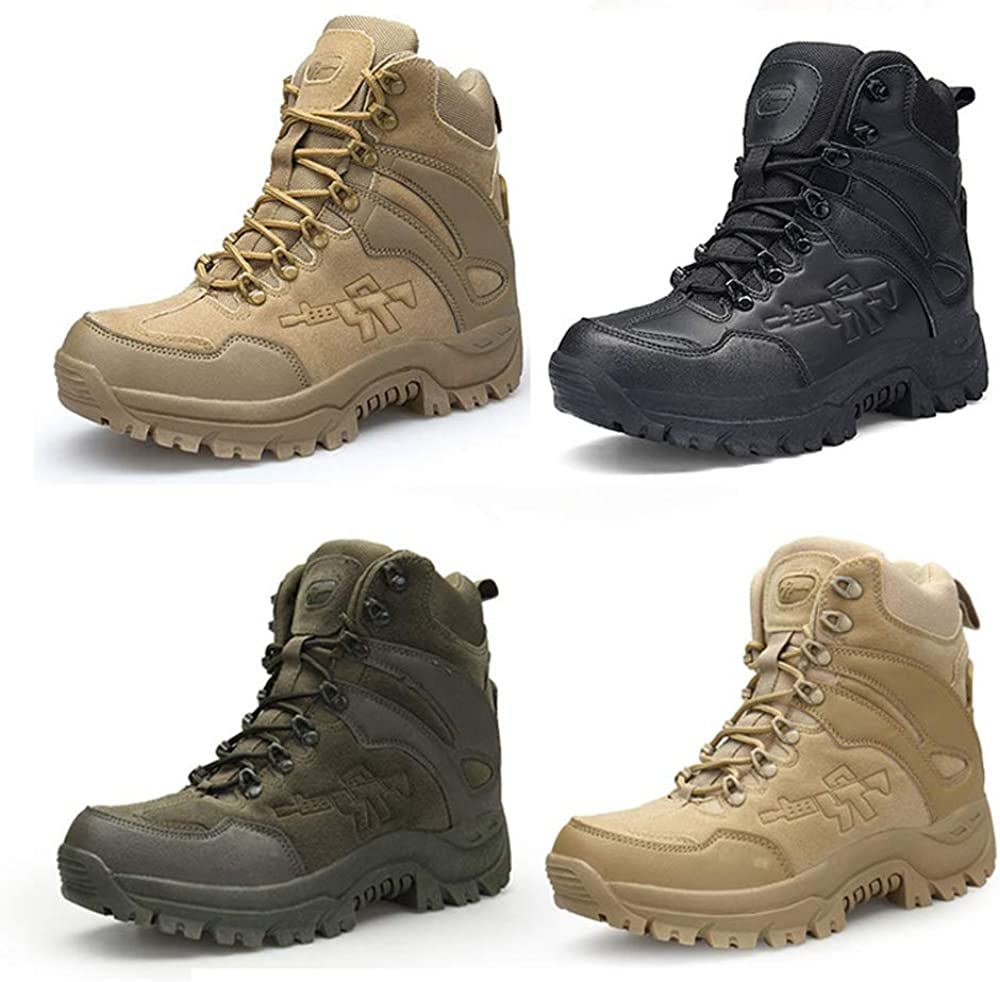 yoli Outdoor Military Tactical Boots Side Zip Combat Shoes Special Force Training Boots Desert Ankle Shoes Black and Beige