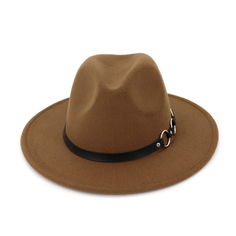 Jeremy Stone Wool Wide Brim Floppy Felt Hat for Elegant Women Ladies Winter Autumn Cashmere Gangster Church Hat