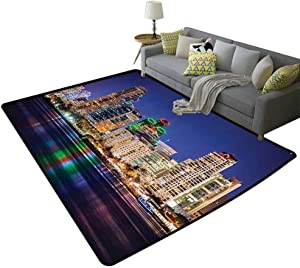 Apartment Decor Collection Living Room Area Rugs Colorful Skyline San Diego at Night North San Diego Bay Boats Architecture Urban Picture Children's Play mat Navy, 6'x 8'(180x240cm)