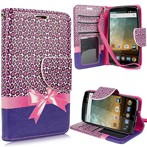 (for ZTE Ultra, N817, ZTE Uhura, ZTE Quest Cute Flip Credit Card Slots Pouch PU Leather Folding Folio Wallet with Wrist Strap [Free Emoji Keychain!] (Pink)