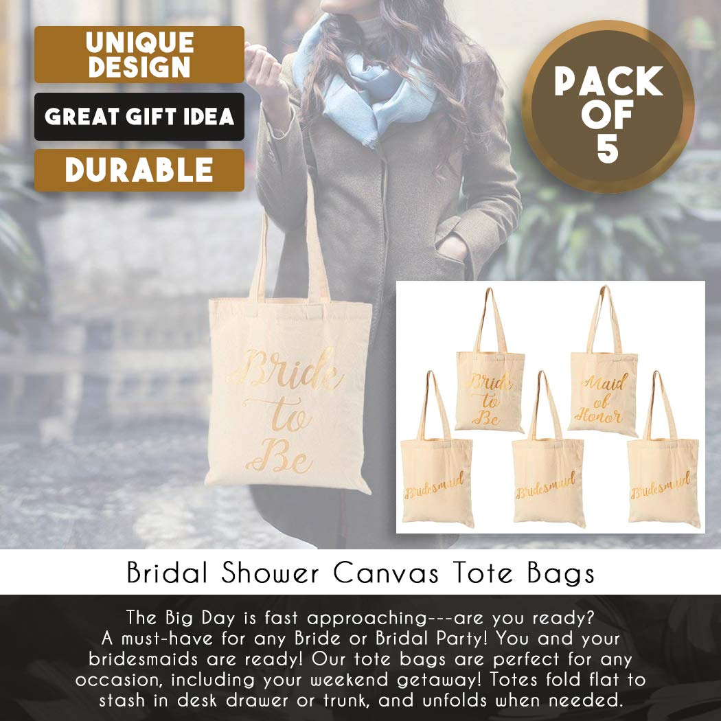 Bridal Shower Canvas Tote Bag - 5-Pack Reusable Shopping Bags for Wedding Favors, Bachelorette Party Gifts, and Bridal Shower Accessories 13.5 x 12 Inches by Blue Panda (Image #4)