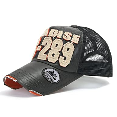 3d19e41acfc47 ililily Distressed Vintage Pre-curved Mesh Baseball Cap with Adjustable  Strap Snapback Trucker Hat -