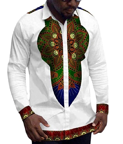 Coolred-Men Long Sleeve Mid-Long V Neck Dashiki African Casual Tees Top