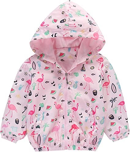 CM-Kid Toddler Girls Unicorn Jacket Kids Hoodies Lightweight Windbreaker Cute Zip Sweatshirt Long Sleeve Casual Sport Outwear 1-6 Years