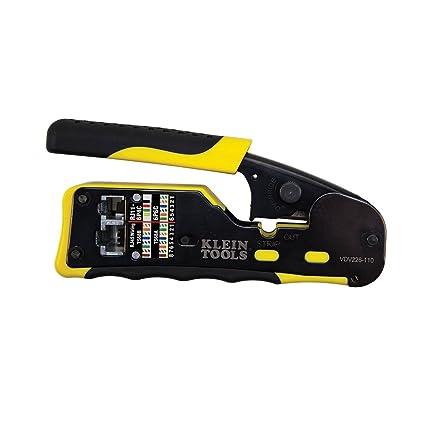 klein tools vdv226-110 pass-thru modular crimper, yellow/black, pack of 1:  amazon co uk: diy & tools