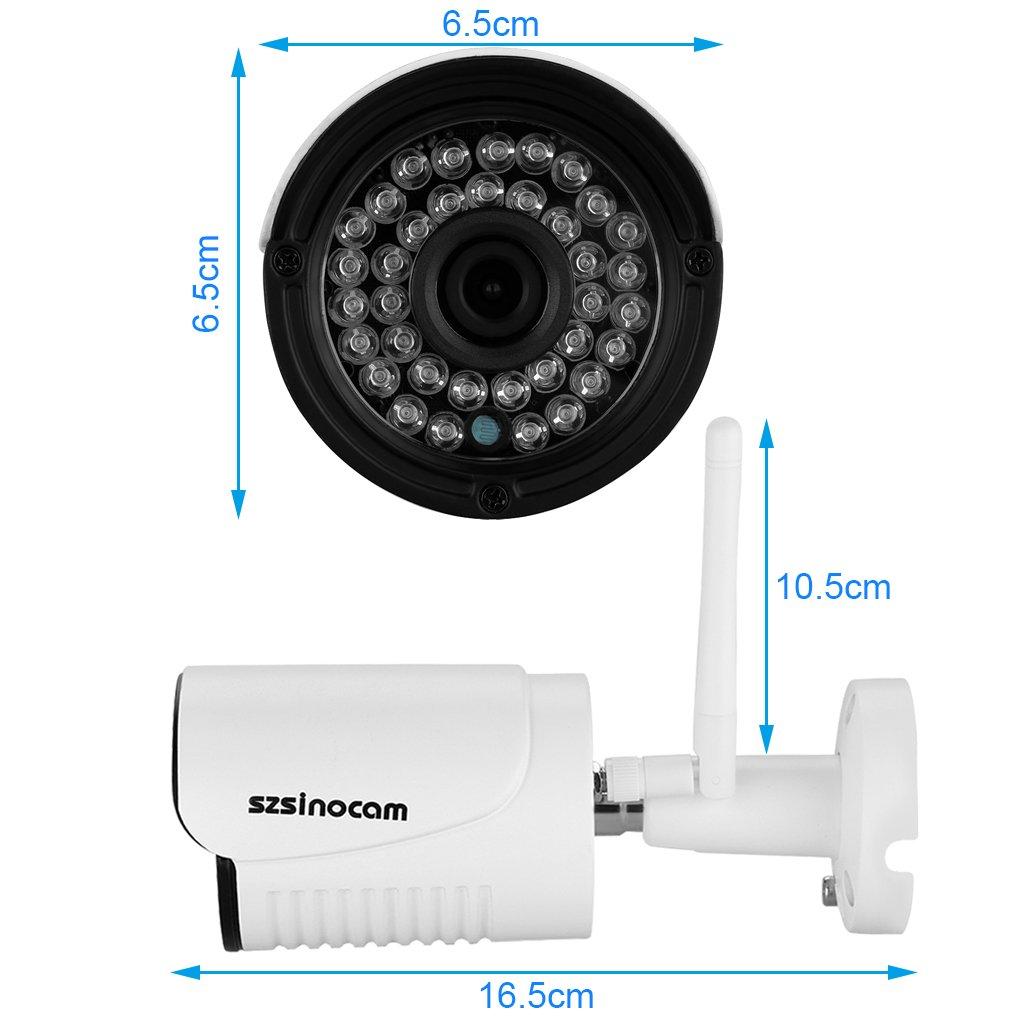 Sinocam - 720P H.264 Impermeable WIFI P2P Cámara IP de Vigilancia Seguridad (1.0Mp, ONVIF, Visión Nocturna, 25 Fps, WLAN, CCTV, Compatible con Móviles Ios ...