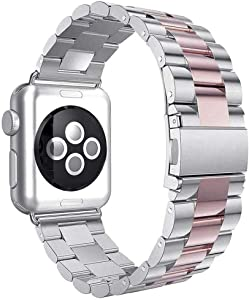 Aottom Compatible for Apple Watch Band 40mm 38mm iWatch Series 6/5/4/SE Band Stainless Steel Metal Bracelet Wristband Replacement Band for 38mm 40mm Apple Watch SE Series 6/5/4/3/2/1, Silver/Rose Gold