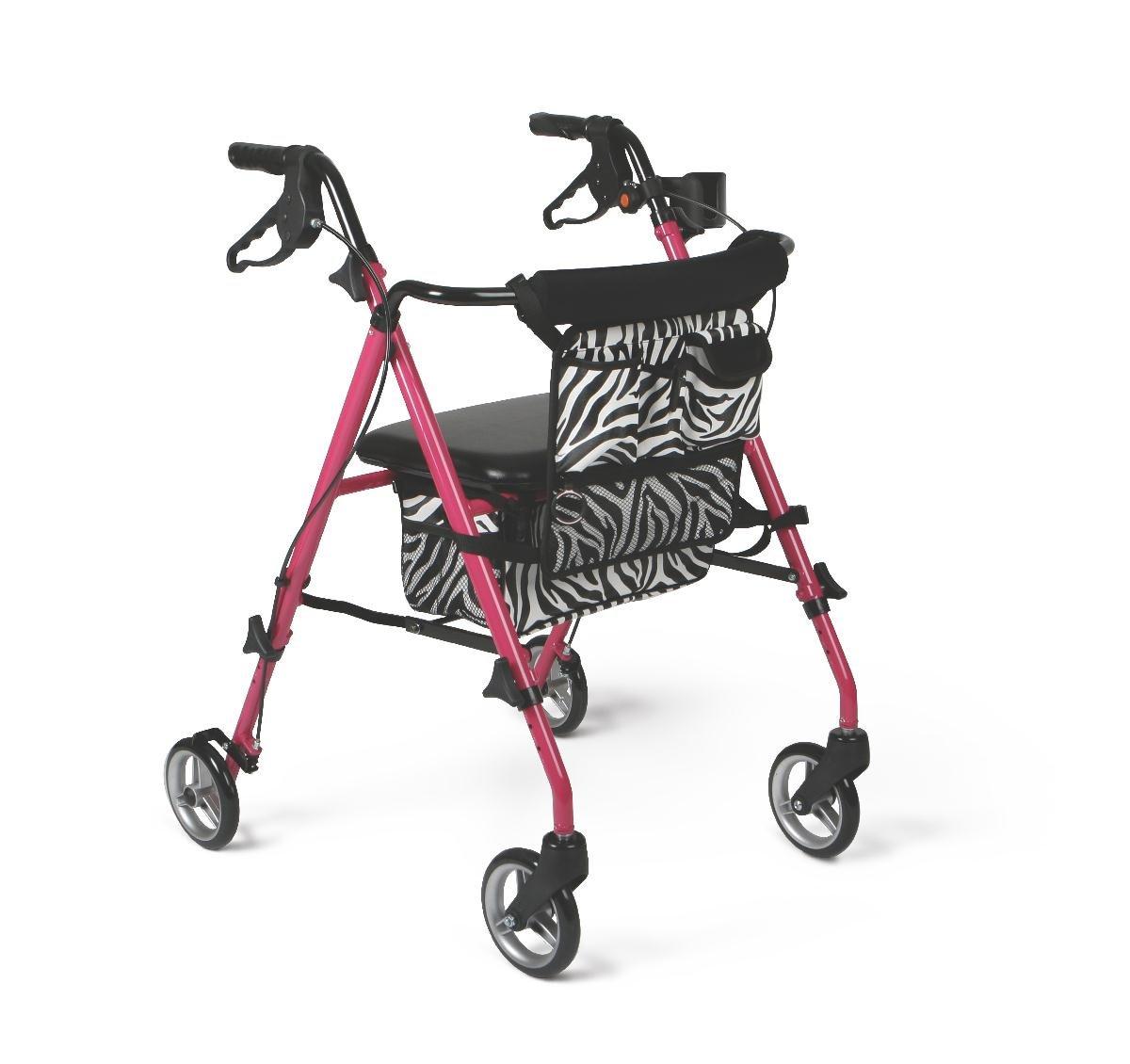 Medline Posh Premium Lightweight Folding Aluminum Rollator Walker with 6'' Wheels, Pink