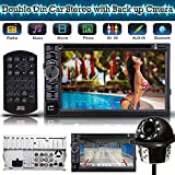 Universal 2 Din Car Stereo DVD CD Player Receiver Radio Bluetooth Touch Screen with Remote + Back up Camera Rear View Clear Parking Assist Cam – 2 Year Warranty