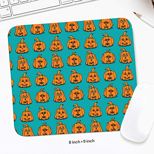 Cool Textured Pumpkins Faces Mouse Pad Natural Rubber Excellent Cloth Mousepad Stable No Slip Easy to Clean Office Home Computer Laptop Textured Rectangle Gaming 200X225 MM Mouse Mat ()
