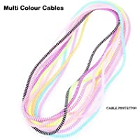 AE Mobile Accessories Spiral Triple Colors Cable Cord Protectors Winders for Mobile Phone Charging Cable Earphones 1.5 M Long (Multi)