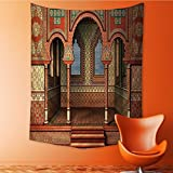 Polyester Fabric Wall Decor Middle East Oriental Inner Palace Islamic Architecture Vintage Wall Hanging Bedroom Living Room Dorm Home Decor Tapestry 51W x 60L INCH
