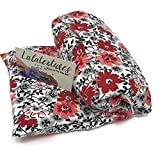 The Flax Sak Unscented Microwavable Heating Pad With Washable Cover. Hot/Cold Pack Red and Black Floral