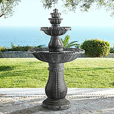 """John Timberland Hampton Italian Outdoor Floor Water Fountain with Light LED 56 3/4"""" High 4 Tiered for Yard Garden Patio Deck Home - 56 3/4"""" high. Bottom basin is 32"""" wide x 7"""" high. Base at very bottom is 11 1/4"""" wide. 6 to 8 gallon capacity. Weighs 75 lbs. Traditional four-tier fountain. By John Timberland. LED lights included on the bottom basin. Use in an outdoor patio or seating area, or as a focal point for a lawn. - patio, outdoor-decor, fountains - 61d%2BLzB KkL. SS400  -"""