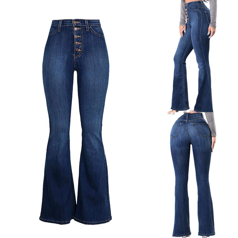 orden minorista online varios estilos Women's Juniors High Rise Button Fly Flare Jeans Bell Bottom ...