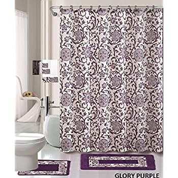 Amazon.com: 18 Piece Bath Rug Set Lavender Purple Silver