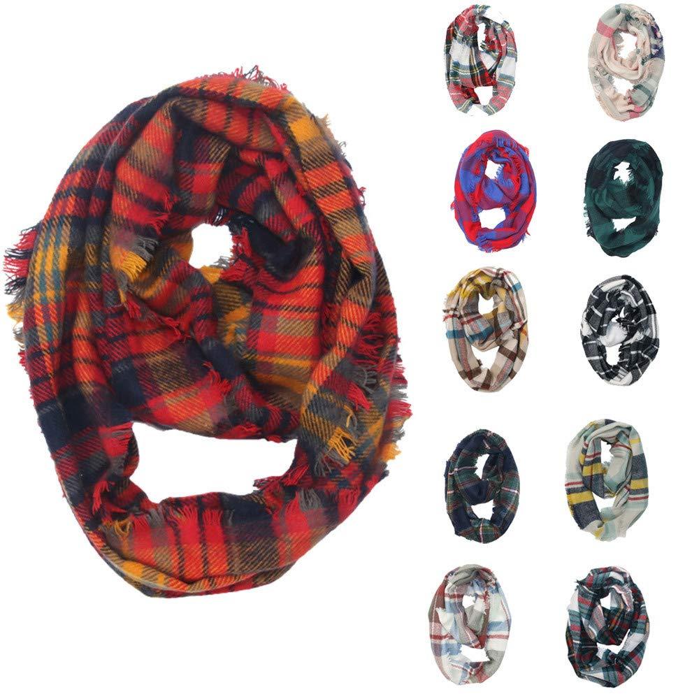Kumike Women Winter Warm Fashion Plaid Ring Neck Warmer Wrap Collar Scarf Big Promotions