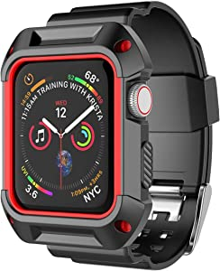 Njjex Smartwatch Band with Case for Apple Watch Bands 38mm 42mm Series 3 Series 2 Series 1, Soft Silicone Protective Bumper Replacement Strap Band Wristband for Apple Watch iWatch Series 3 2 1 [Red]