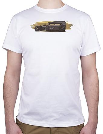 Coche de Carreras Antiguo - Camiseta para hombre Blanco blanco Large: Amazon.es: Ropa y accesorios