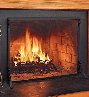 Plow & Hearth Small Flat Guard Fireplace Screen, Handcrafted Solid Steel, Heavy Duty Metal Mesh, Adjustable Feet, Powder Coat Finish, Free Standing Spark Guard 39 W x 31 H, Black