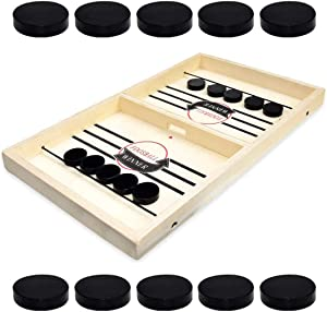 NEO LOONS Table Hockey Game, Fast Sling Puck Table Board Game Fast-Paced Slingshot Desktop Hockey Game Set for Party Home Parent-Child Interactive Games Toys