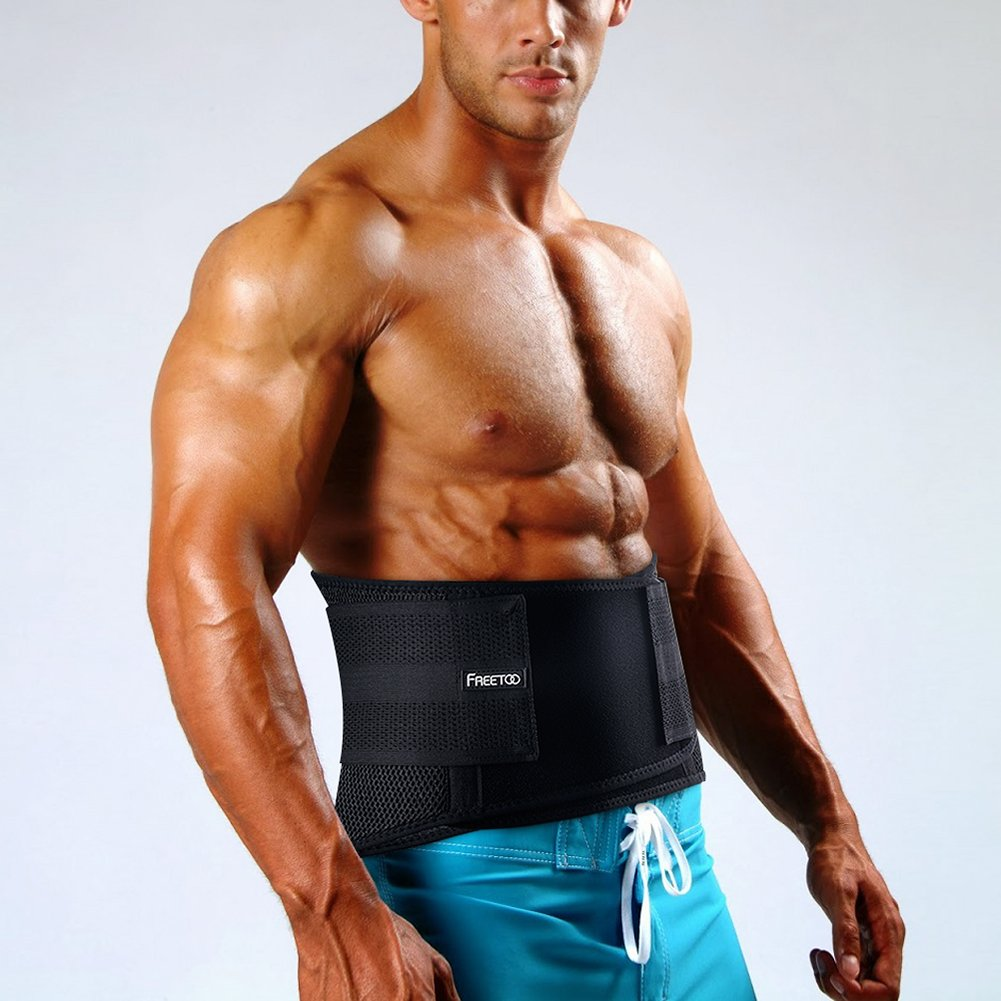 FREETOO Back Support Adjustable Lumbar Back Brace Lumbar Support with Breathable Mesh and Dual Adjustable Straps for Lower Back Pain Relief for Sports - Black (XXL)