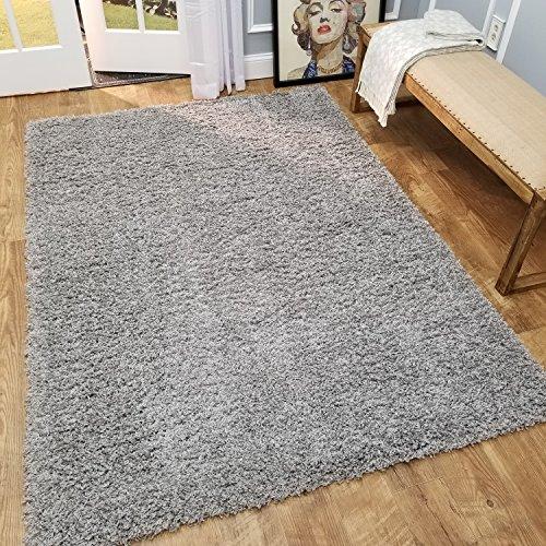 Maxy Home Shag Area Rug 3x5 | Plain Solid Gray Grey Shag Rugs for Living Room Bedroom Nursery Kids College Dorm Carpet by European Made MH10