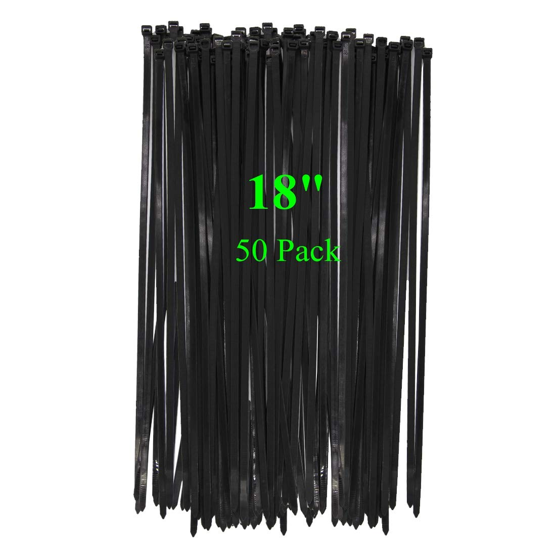 "Long Wide 18 Inch Nylon Zip Cable Ties-Large 120LB Tensile Strength-Heavy Duty Industrial Durable Strong Cable Ties- 50 Pack - Indoor Outdoor Garden Ties Use(18"",120LB, Black, UV Resistant)"