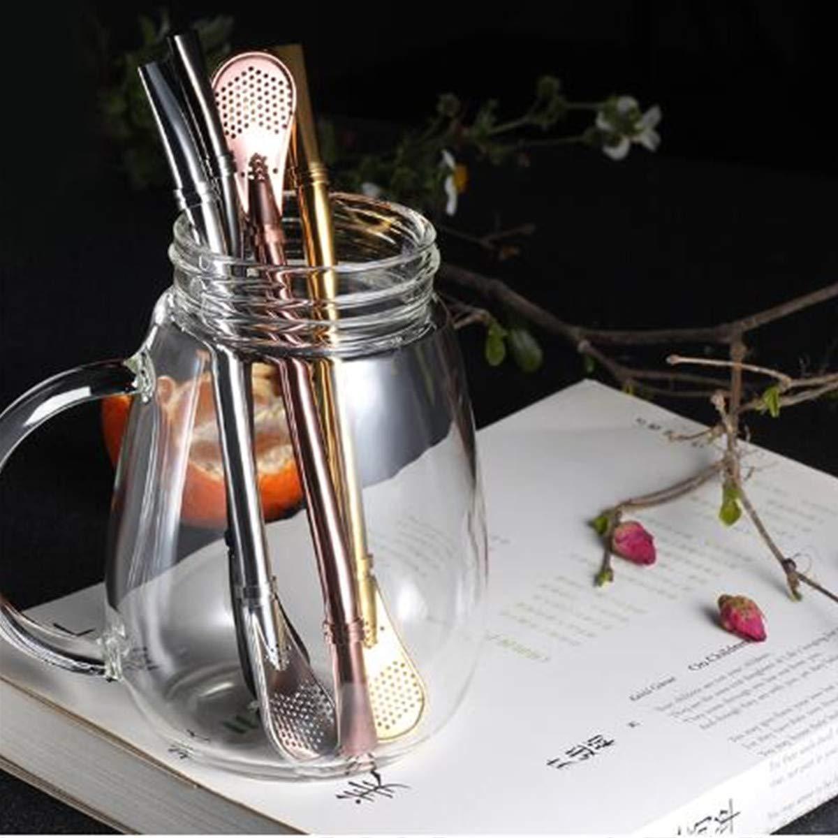 Bombillas Trinkhalme mit Reinigungsbürste für Smoothie, Milchshake und Heißgetränke, Kaffee, Yerba Mate, Strohhalm, Teelöffel, 4 Stück