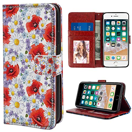 - Wristlet Wallet Case Compatible with Apple iPhone 8 | iPhone 7 [4.7-Inch] Flower Purple Flowers Poppy and Daisy Summer Nature Wildflowers Graphic Scarlet White and Lavender Pattern for Girl Case