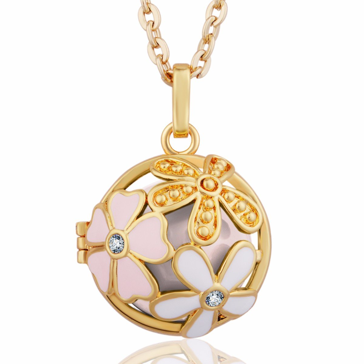 Eudora Harmony Bola Summer Flower 20mm Musical Chime Bell Pendant 30 inches Necklace Gold Plated