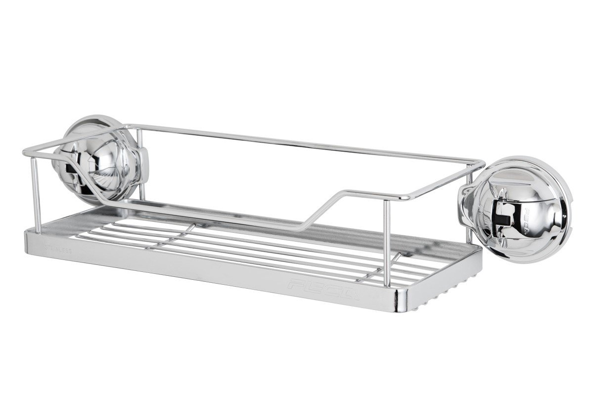 FECA FE-K1008 N/A No Drilling Mountable Stainless steel Rack with Powerful Chrome Suction Cup For Bathroom Kitchen Shelf, Rectangular