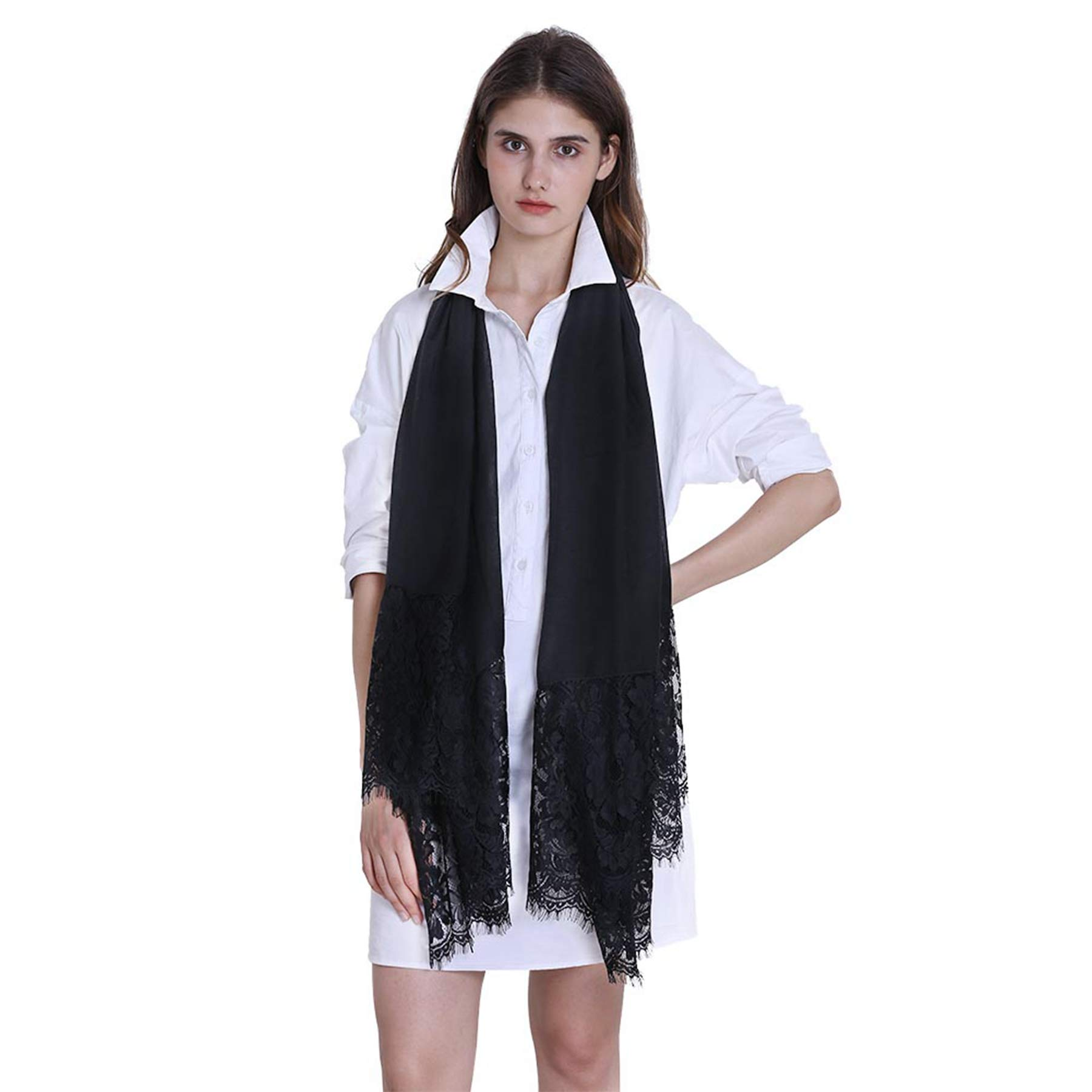 Women Fashion Scarf Wrap Shawl,RiscaWin Autumn Soft Lightweight Lace Scarves Wrap Warm Scarf(Black) by RiscaWin (Image #2)